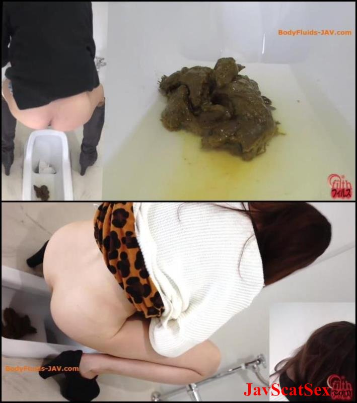 BFFF-160 Filth pooping Big pile feces, girls defecates in toilet. Closeup FullHD 1080p (300 MB)