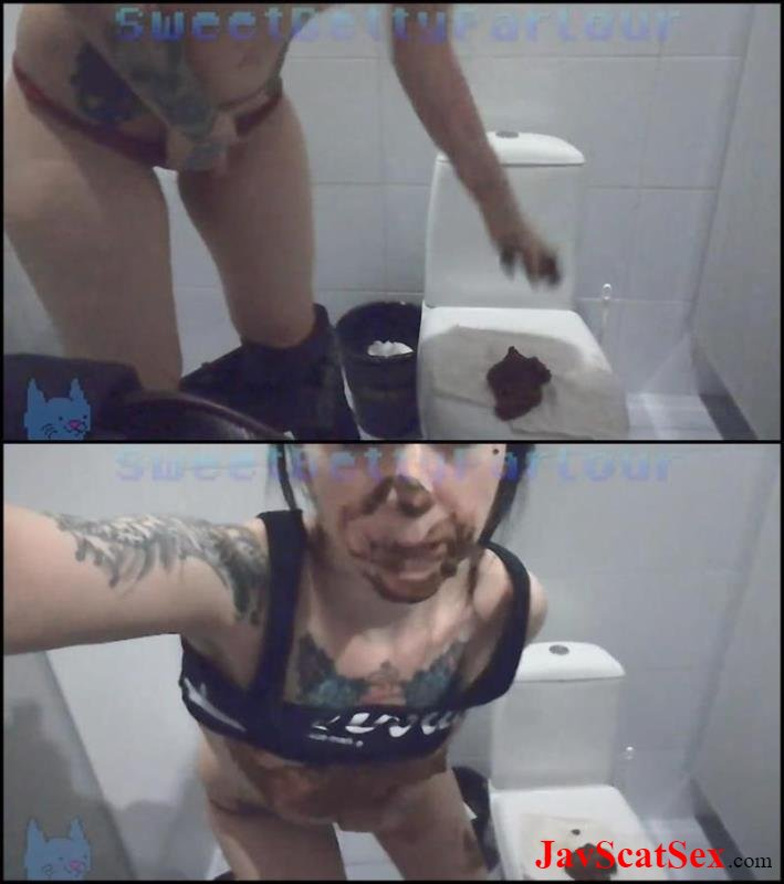 [Special #526] Face in feces Pooping and smear shit on face and breast in public WC. Big pile FullHD 1080p (718 MB)